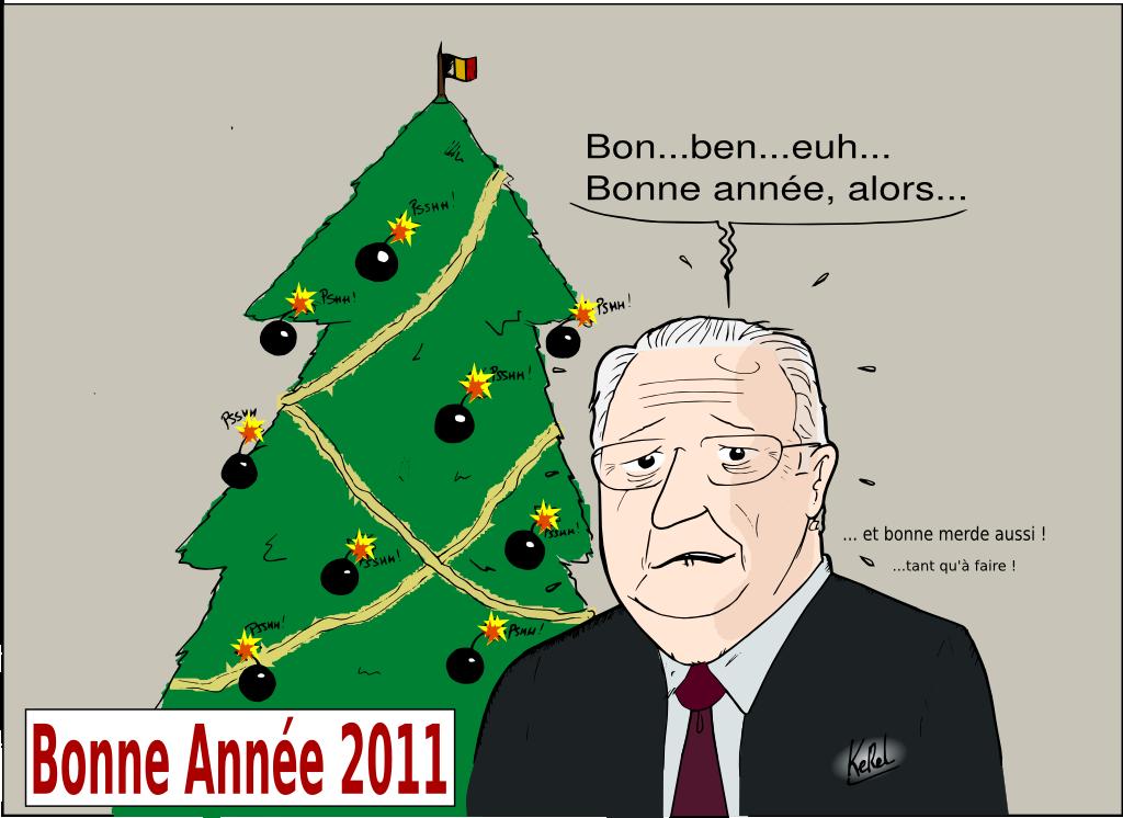 Les voeux du roi: Bonne année et bonne merde aussi.